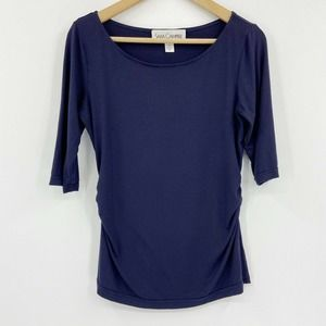 Sara Campbell 3/4 Sleeve Boat Neck Top Ruched Side